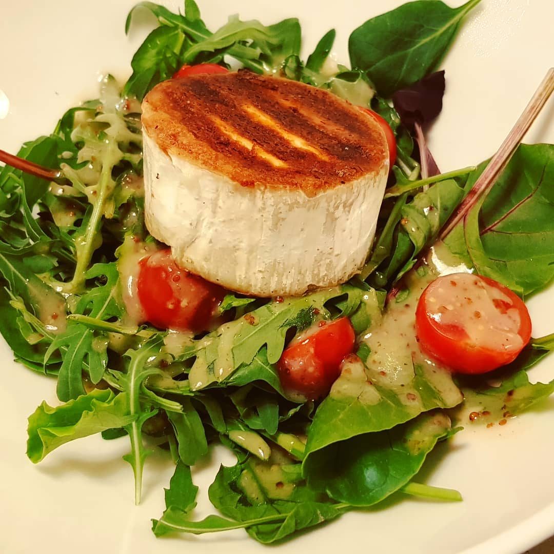 Salad with Grilled Goat Cheese, very good.